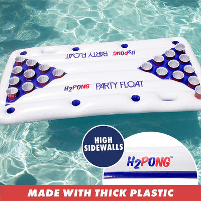 Play Platoon H2PONG Inflatable Beer Pong Raft, Includes 5 Ping Pong Balls - Floating Pool Party Game Float Set