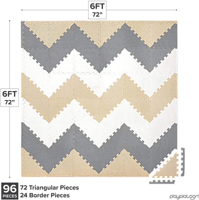 Non-Toxic Extra-Thick 96 Piece Triangle Play Mat - Comfortable Cushiony Foam Floor Puzzle Exercise Mat for Kids & Toddlers - Sand, Gray & Cream