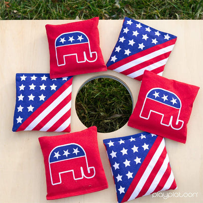 Weather Resistant Cornhole Bean Bags Set of 8 - Regulation Size & Weight - 4 Republican & 4 American Flag Corn Hole Bags