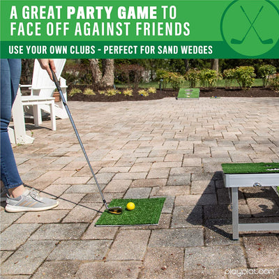 Play Platoon Golf Cornhole Chipping Game for Adults and Kids - Includes Board, Chipping Mat, 20 Golf Balls, Reusable Scoreboard & Carrying Case - Great Putting Practice Golfer Gift for Men & Women