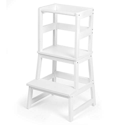 Play Platoon Toddler Kitchen Stool - White Wooden Step Stool Tower for Kids Kitchen Counter Learning