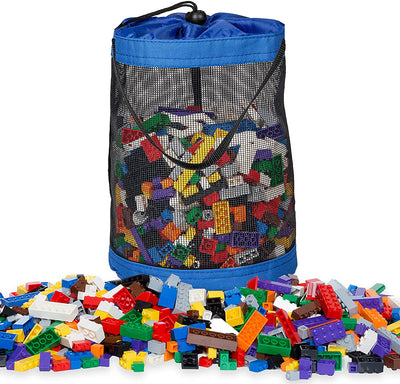 Play Platoon 1100 Piece Building Bricks Kit with Drawstring Storage Bag Plus Wheels, Tires, Axles, Windows and Doors Pieces - Classic Colors - Compatible with All Major Brands