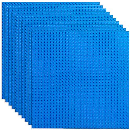 Building Brick Base Plates - Blue 10 Pack of 5 x 5 Inch Stackable Classic Baseplates - Compatible with All Major Building Block Toys