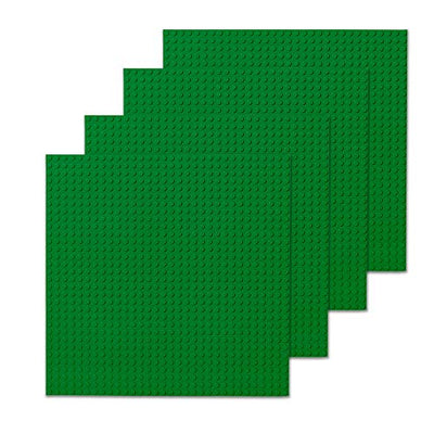 Play Platoon Building Bricks - 10 x 10 Inch Green Classic Stackable Baseplate (4 Pack) Compatible with All Major Brands