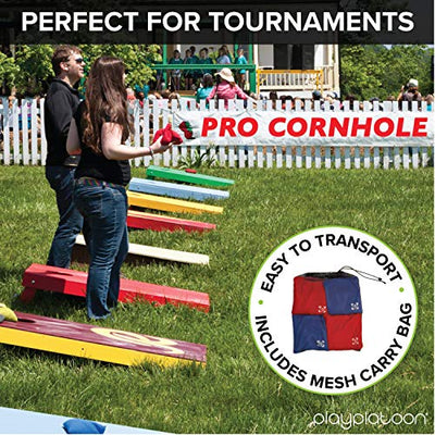 Professional Cornhole Bags - Set of 8 Regulation All Weather Two Sided Bean Bags for Pro Corn Hole Game - 4 Red & 4 Gray