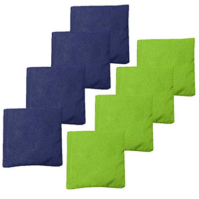 Weather Resistant Cornhole Bean Bags Set of 8 - Regulation Size & Weight - 4 Navy Blue & 4 Lime Green Corn Hole Bags