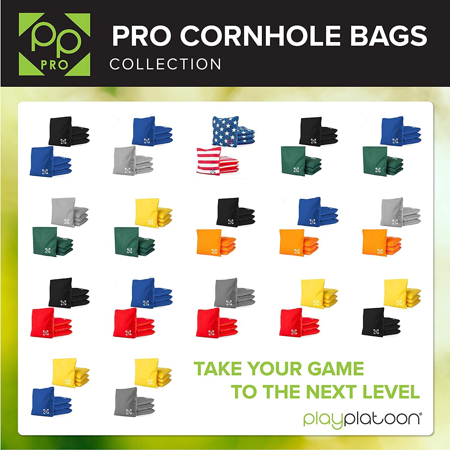 Professional Cornhole Bags Set of 8 Regulation All Weather Two Sided Bean Bags for Pro Corn Hole Game