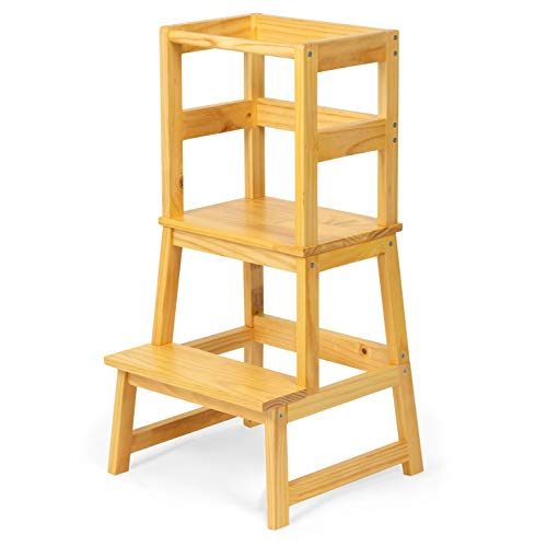 Play Platoon Toddler Kitchen Stool - Kids Wooden Step Stool Tower for Kitchen Counter Learning