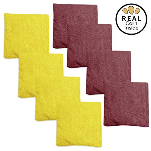 Corn Filled Cornhole Bags - Set of 8 Duck Cloth Bean Bags for Corn Hole Game - Regulation Size & Weight (Burgundy & Yellow)