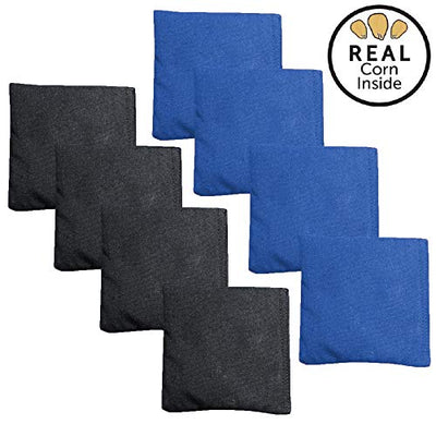 Corn Filled Cornhole Bags - Set of 8 Bean Bags for Corn Hole Game - Regulation Size & Weight - Blue & Black