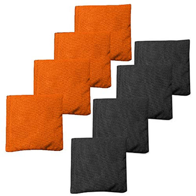 Weather Resistant Cornhole Bean Bags Set of 8 - Regulation Size & Weight - 4 Burnt Orange & 4 Black Corn Hole Bags