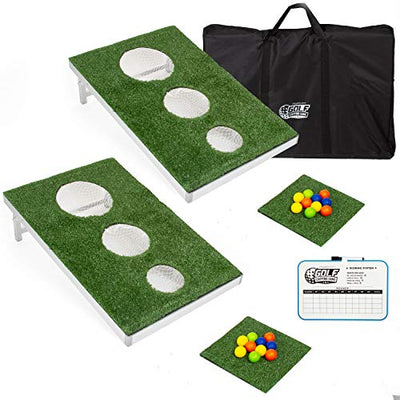 Golf Cornhole Chipping Game for Adults and Kids, 2 Pack - Includes 2 Boards, Chipping Mat, 20 Golf Balls, Reusable Scoreboard & Carrying Case - Great Putting Practice Golfer Gift for Men & Women
