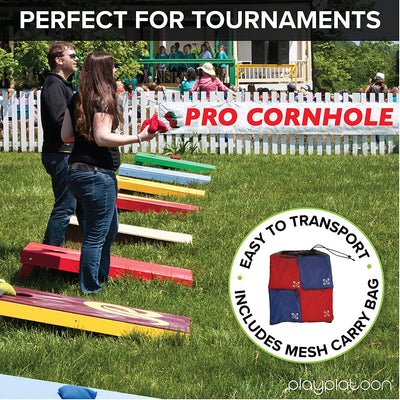 Professional Cornhole Bags - Set of 8 Regulation All Weather Two Sided Bean Bags for Pro Corn Hole Game