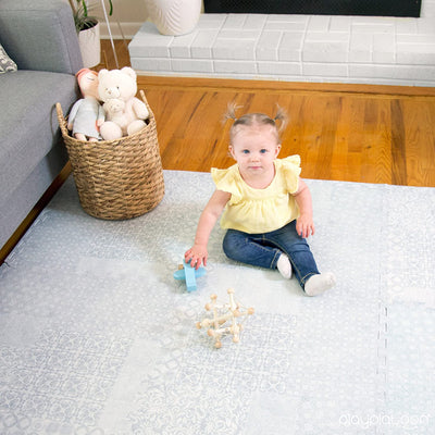 Non-Toxic Extra-Thick 9 Piece Childrens Play Mat - 72 x 72 inch Comfortable Cushiony Foam Floor Puzzle Mat for Kids & Toddlers with 24 x 24 inch Tiles