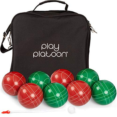 Bocce Ball Set Regulation Size with 8 Premium Resin Bocce Balls, Pallino, Carry Bag & Measuring Rope