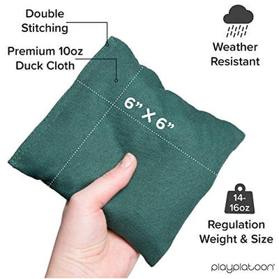 Play Platoon Premium Weather Resistant Duckcloth Cornhole Bags - Set of 8 Bean Bags for Corn Hole Game - Regulation Size & Weight - Hunter Green & Navy Blue