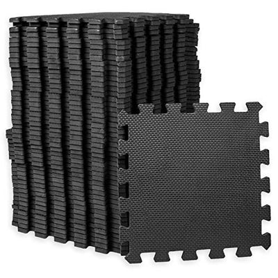 Play Platoon Gym Flooring Exercise Mats - Black Interlocking Workout Mats for Home Gym Floor, 3/8 Inch Thick Tiles, 24 square foot