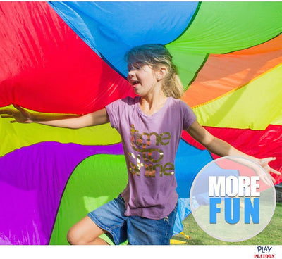 10 Foot Play Parachute with 10 Handles - Multicolored Parachute for Kids