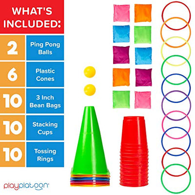 5 in 1 Kids Party Games Carnival Set - 38 Piece Ring Toss and Obstacle Course for Kids Including 6 Plastic Cones, 10 Tossing Rings, 10 Cornhole Bean Bags, 10 Stacking Cups & 2 Ping Pong Balls