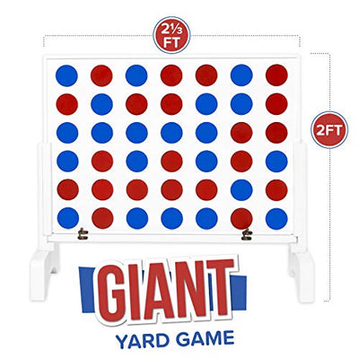 Play Platoon Giant Wooden Drop 4 Outdoor Yard Game, White Wood - Four in a Row Wins