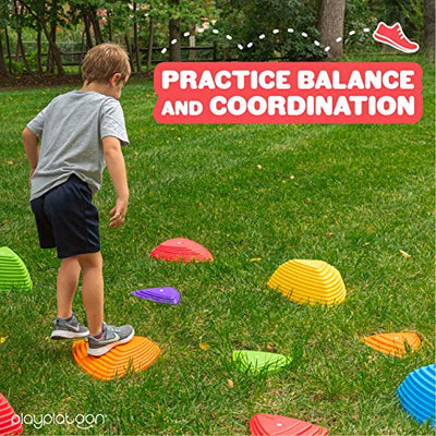 Stepping Stones for Kids, 15 Pack - Colorful River Stone Exercise Blocks for Balance and Coordination - Indoor Outdoor Childrens Play Set