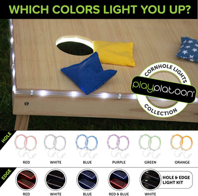 Cornhole Board Lights - White LED Corn Hole Lighting Kit for Playing at Night