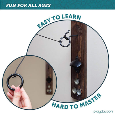 Play Platoon Hook and Ring Game with Bottle Opener and Magnetic Cap Catch - Ring Toss Game for Adults, Rustic Wood