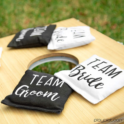 Weather Resistant Cornhole Bean Bags Set of 8 - Regulation Size & Weight - Team Bride & Team Groom Wedding Theme Corn Hole Bags