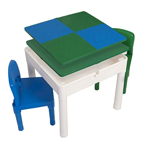 Play Platoon Kids Activity Table Set - 5 in 1 Water Table, Building Block Table, Craft Table and Sensory Table with Storage - Includes 2 Chairs and 25 Ex-Large Blocks - Blue and Green
