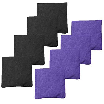 Premium Weather Resistant Duckcloth Cornhole Bags - Set of 8 Bean Bags for Corn Hole Game - Regulation Size & Weight - Purple & Black