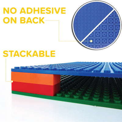 Building Bricks - 10 x 10 Inch Stackable Baseplate - Variety 6 Pack (2 Green, 2 Blue, 2 Gray) Classic Baseplate Compatible with All Major Brands