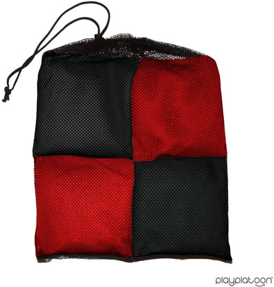 Corn Filled Cornhole Bags - Set of 8 Bean Bags for Corn Hole Game - Regulation Size & Weight - Red and Black