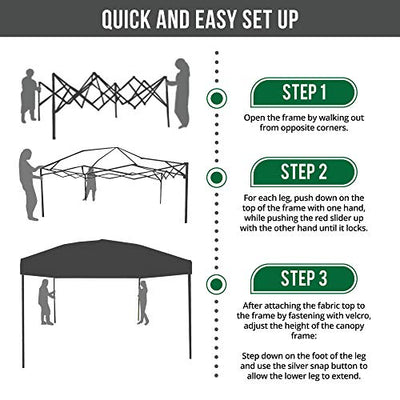 Punchau Pop Up Canopy Tent 10 x 10 Feet, White - UV Coated, Waterproof Outdoor Party Gazebo Tent
