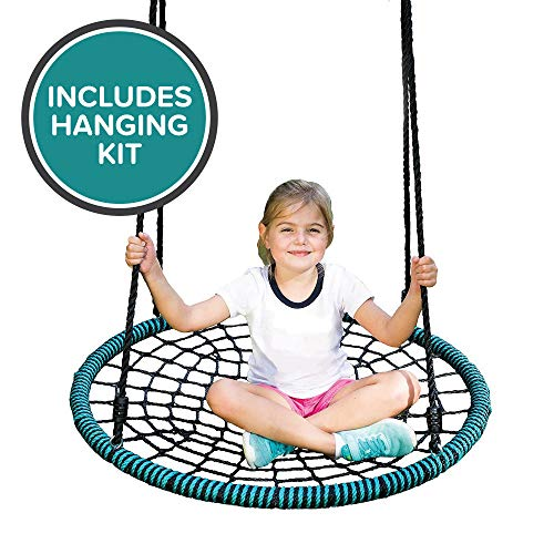 Play Platoon Spider Web Tree Swing with Hanging Kit - Fully Assembled, 40 Inch Diameter, 600 lb Weight Capacity, Easy to Install