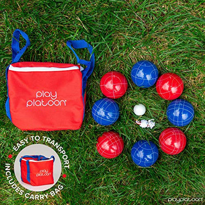 Play Platoon Bocce Ball Set with 8 Premium Resin Bocce Balls, Pallino, Carry Bag & Measuring Rope - Red and Blue 2 to 8 Person Bocce Yard Game