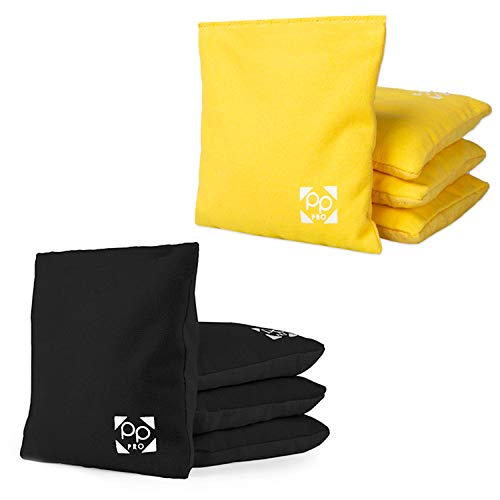 Professional Cornhole Bags - Set of 8 Regulation All Weather Two Sided Bean Bags for Pro Corn Hole Game - 4 Yellow & 4 Black