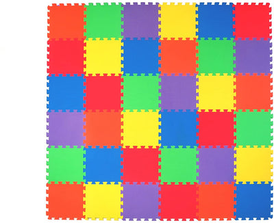 Non-Toxic 36 Piece, 3/8 inch Children Play & Exercise Mat - Puzzle Play Mat for Kids & Toddlers, 6 Vibrant Colors