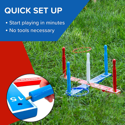 Premium Ring Toss Game Set for Kids & Adults - Includes 8 Rope & 8 Plastic Rings - Improves Hand-Eye Coordination, Great Outdoor Fun