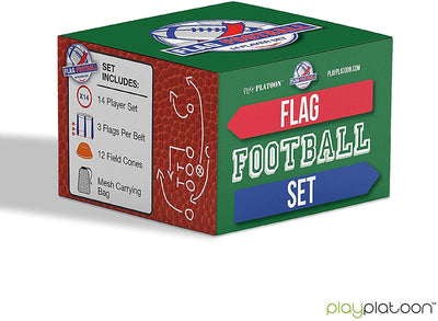 14 Player Flag Football Deluxe Set - 14 Belts, 42 Flags, 12 Cones & 1 Mesh Carrying Bag for Flag Football