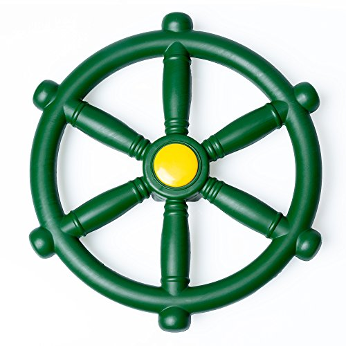 Kids Pirate Ship Wheel for Jungle Gym, Green Playground Steering Wheel for Swing Set