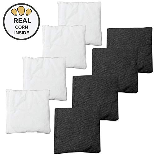 Corn Filled Cornhole Bags - Set of 8 Bean Bags for Corn Hole Game - Regulation Size & Weight - White & Black