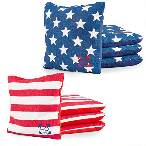 Play Platoon Professional Cornhole Bags - Set of 8 Improved Regulation All Weather Two Sided American Flag Bean Bags for Pro Corn Hole Game - 4 Stars & 4 Stripes