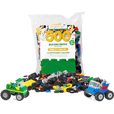 Play Platoon 500 Piece Building Bricks Kit - Car Building Set with Wheels, Axles & Windshields