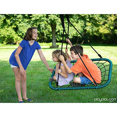 Play Platoon Spider Web Tree Swing Rectangle - 40 x 30 inch, Fully Assembled, 600 lb Weight Capacity, Easy to Install
