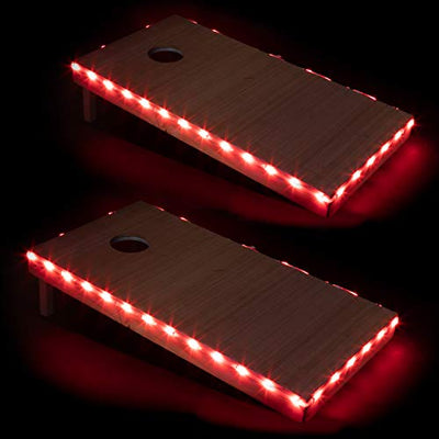 Play Platoon LED Cornhole Board Lights Set of 2, Red - Corn Hole Edge Lighting Kit for Lighted Outdoor Night Games - Bright, Long Lasting, Easy to Install