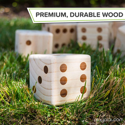 Giant Yard Dice Game Set with Collapsible Bucket - Wooden Lawn Dice Outdoor Game for Adults & Kids