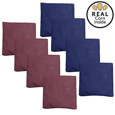 Corn Filled Cornhole Bags - Set of 8 Bean Bags for Corn Hole Game - Regulation Size & Weight - Burgundy & Navy Blue