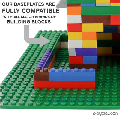 Play Platoon 15 x 15 Inch Baseplate for Building Bricks - Green 2 Pack of Baseplates Compatible with All Major Brands