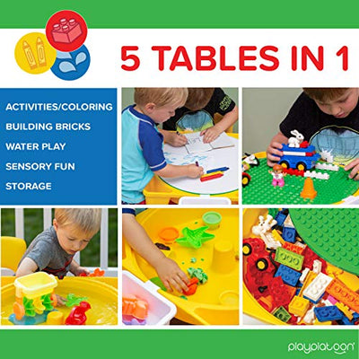 Kids Activity Table Set - 5 in 1 Water Table, Building Brick Table, Craft Table and Sensory Table with Storage - Includes Chair, 130 Big Blocks and 2 Storage Boxes