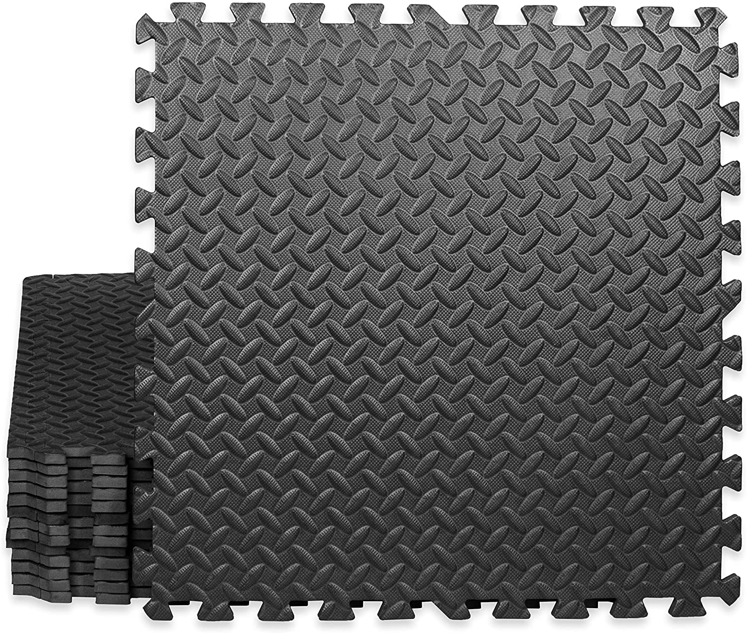 Play Platoon Gym Flooring Exercise Mats - Black Interlocking Workout Mats for Home Gym Floor, 1/2 Inch Thick Tiles, 48 square foot